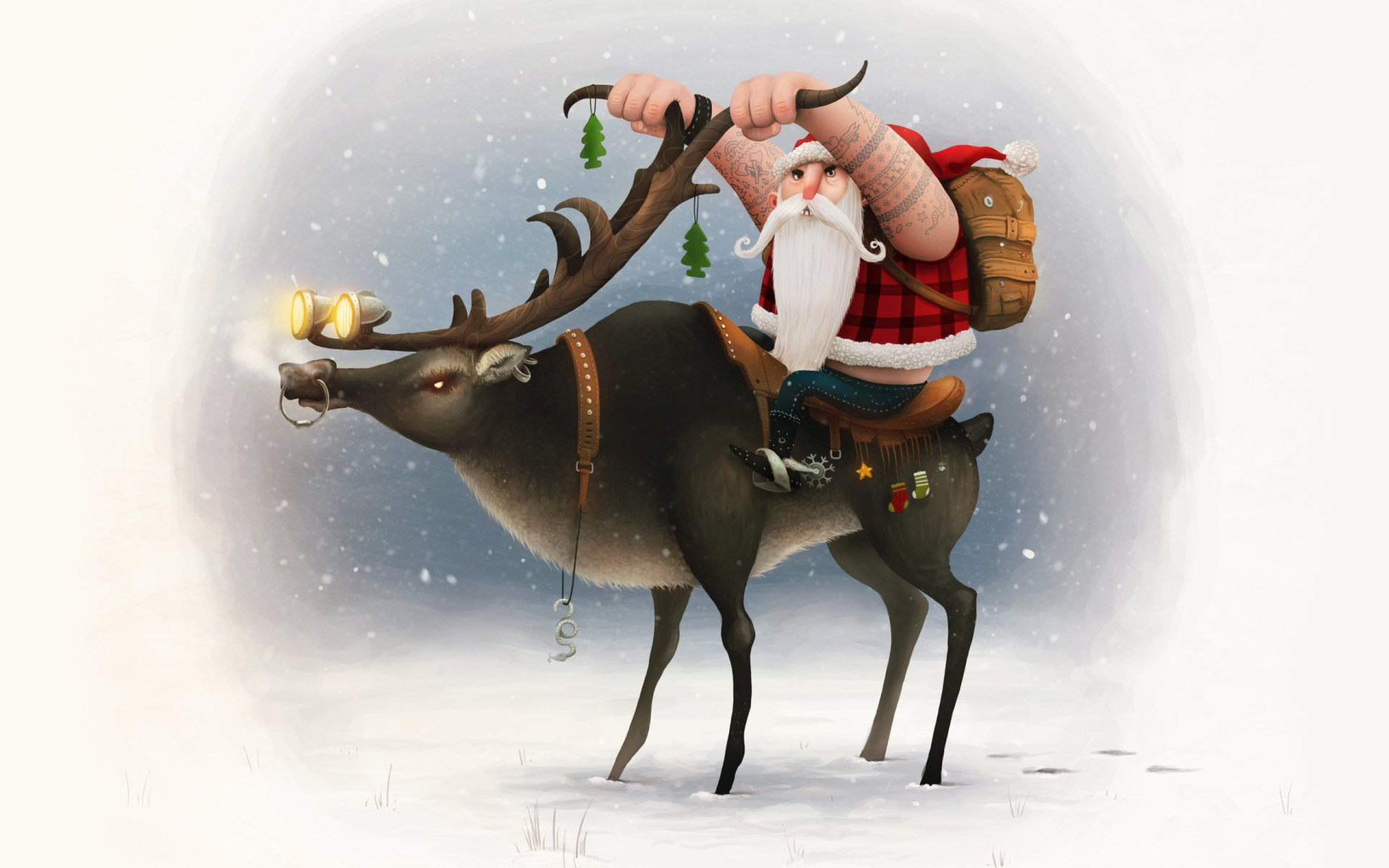 Holiday - Christmas  Santa Reindeer Wallpaper