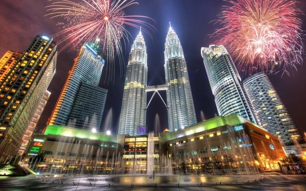 Man Made Petronas Towers Buildings Fireworks Building City Tower Malaysia Kuala Lumpur Skyscraper Fountain HD Wallpaper | Background Image