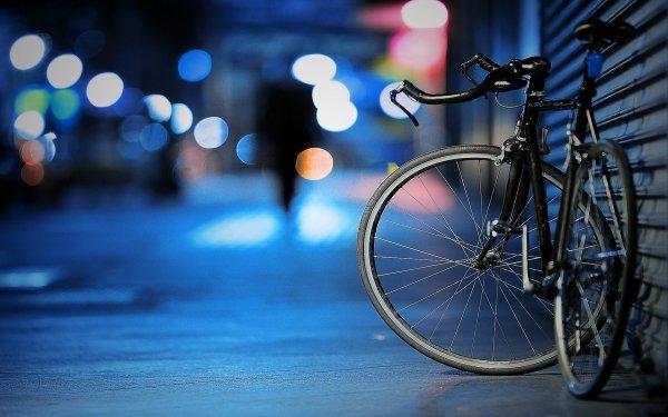 Véhicules Vélo Humeur Nuit Alone Lumière Ville Fond d'écran HD | Image