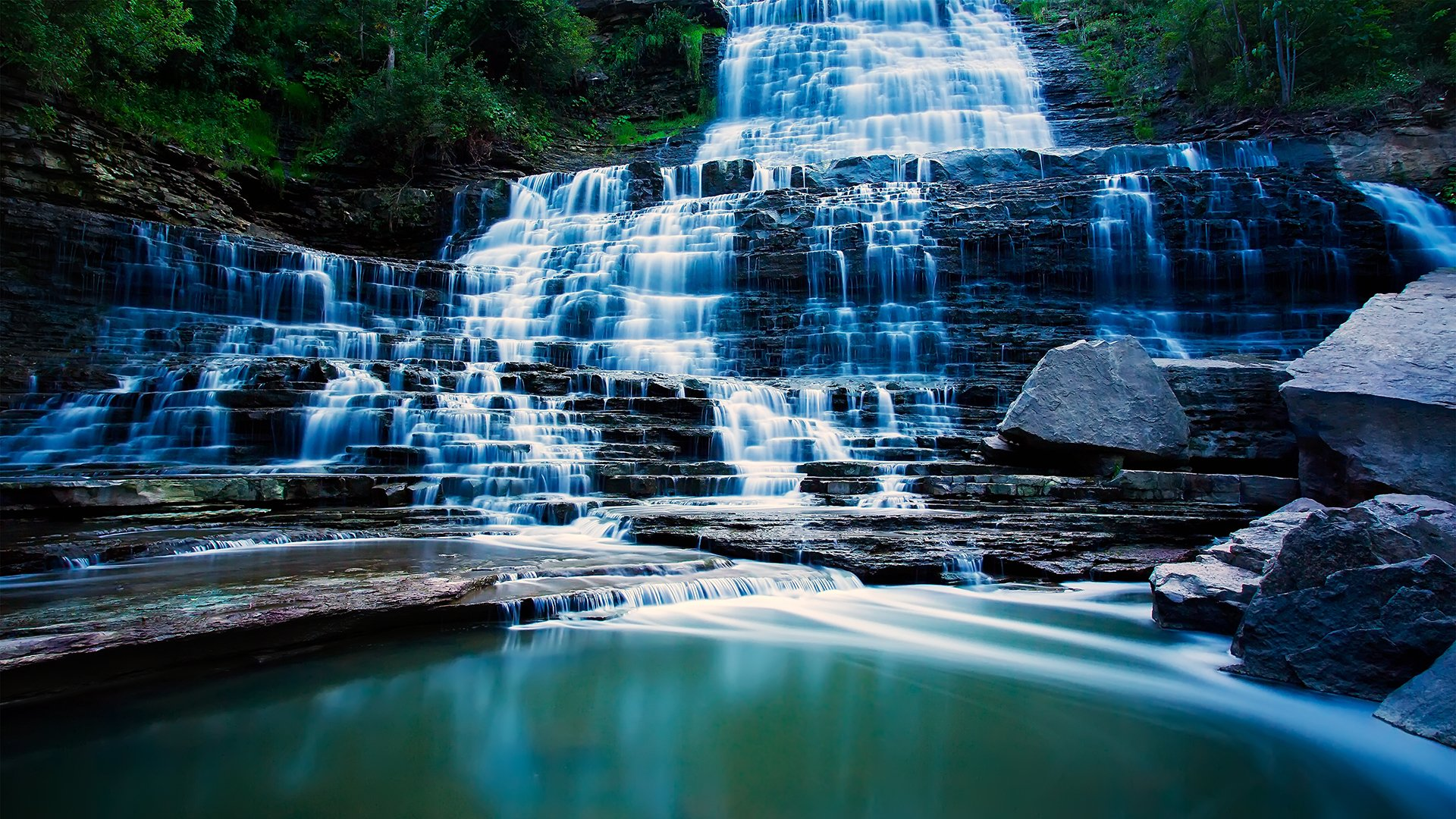 Earth - Albion Falls  Waterfall Rock Canada Wallpaper