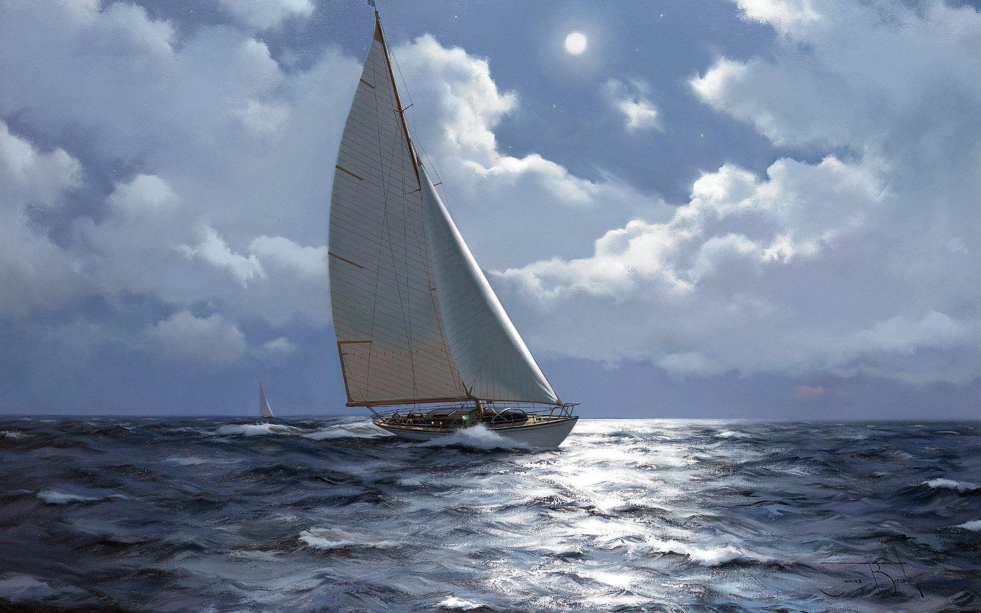 яхта море обои