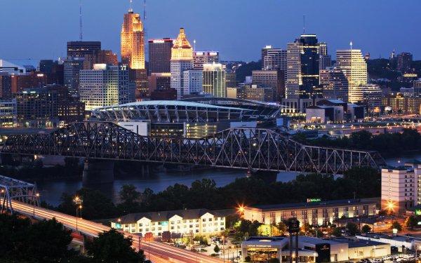 Man Made Cincinnati Cities United States Ohio Clay Wade Bailey Bridge HD Wallpaper   Background Image