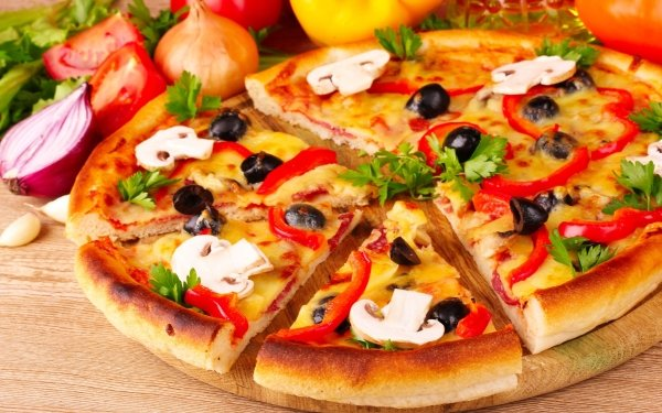 Food Pizza Mushroom Onion Tomato Olive Parsley HD Wallpaper | Background Image