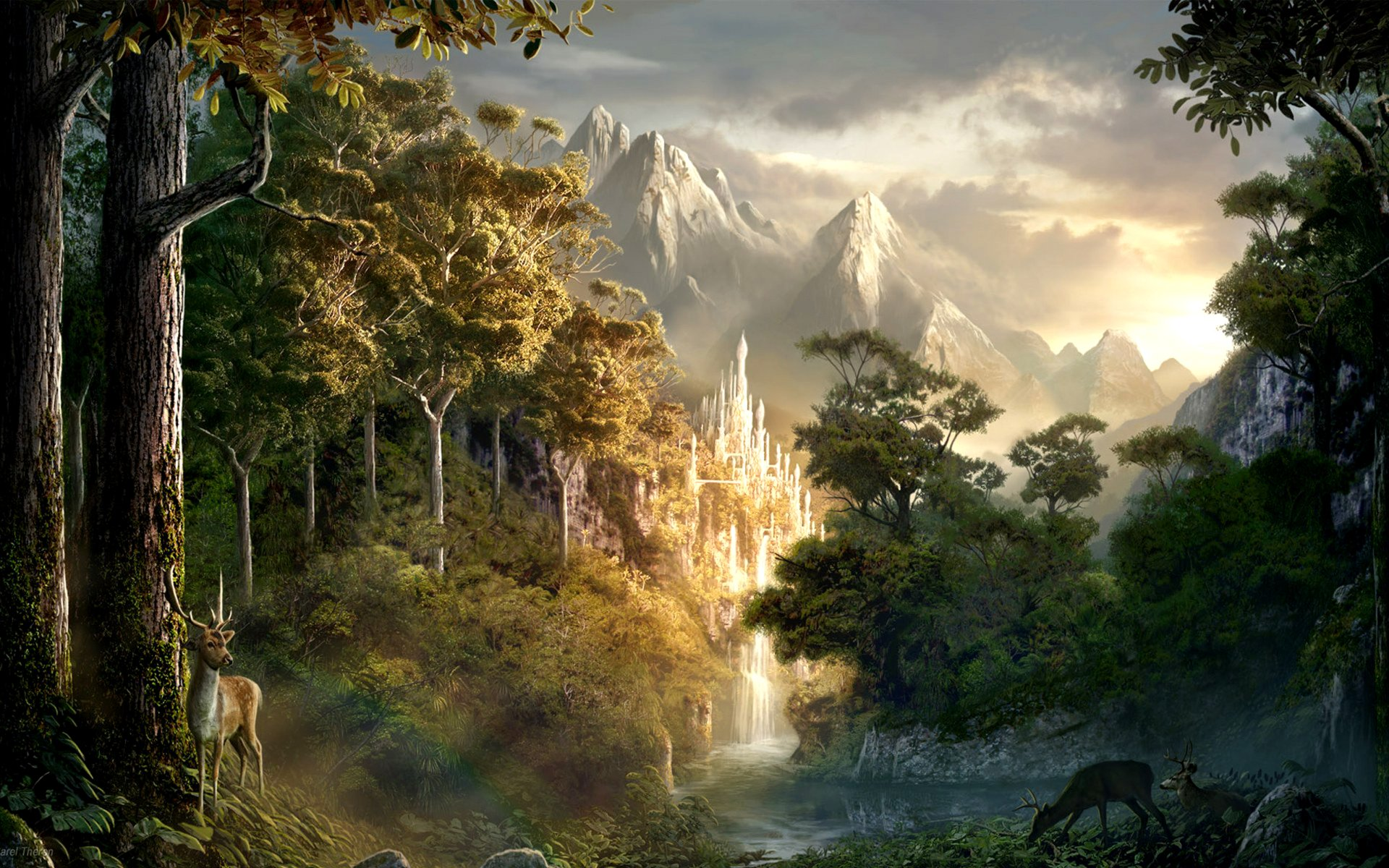 Fantasy - Landscape  Tree Nature Deer Forest Wallpaper