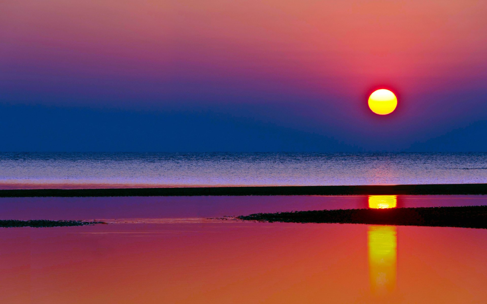 Earth - Beach  Sunset Horizon Sea Reflection Scenic Wallpaper