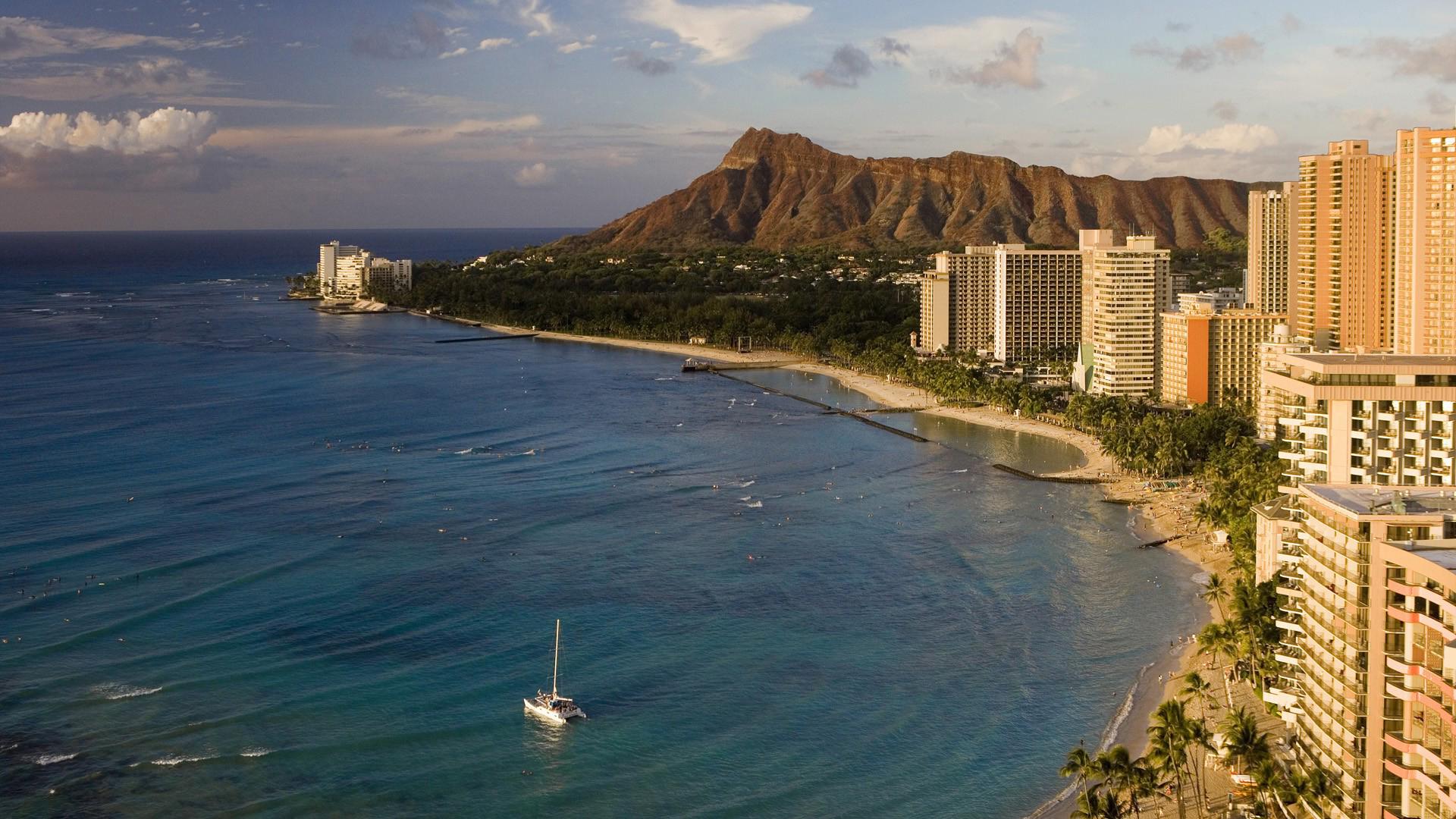 Waikiki Beach Honolulu Oahu, Hawaii Fond d'écran HD   Arrière-Plan   1920x1080   ID:360408 ...