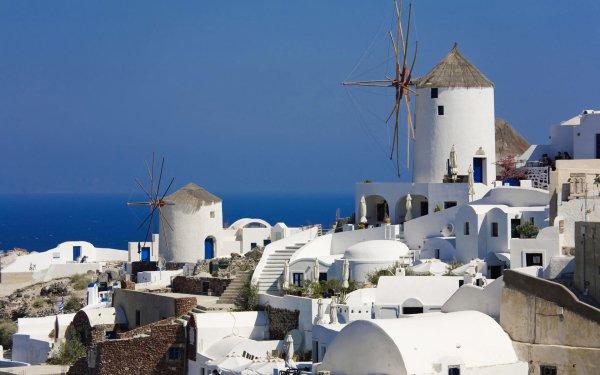 Man Made Village Windmill Santorini Greece HD Wallpaper | Background Image