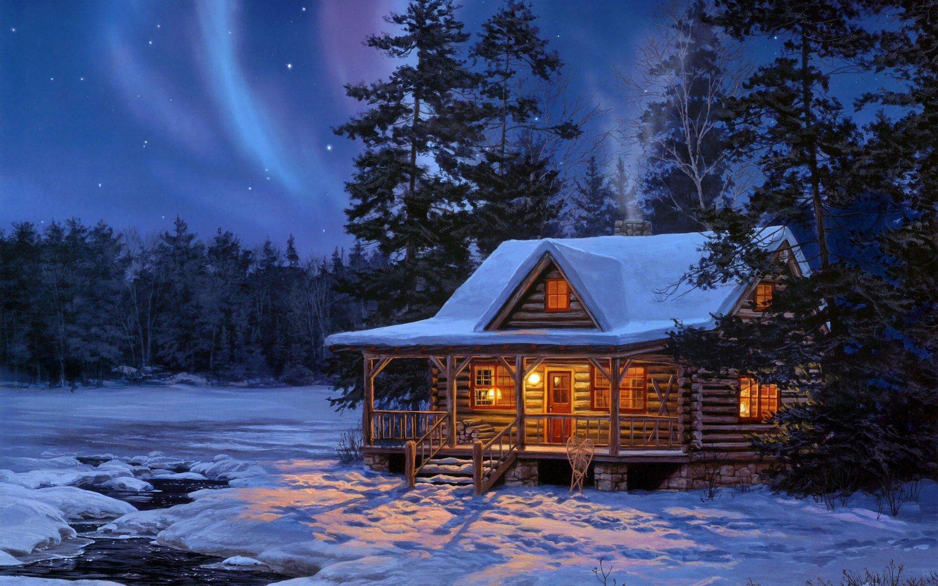 艺术 - 冬季  艺术 木屋 Snow 树 Dusk 星空 壁纸
