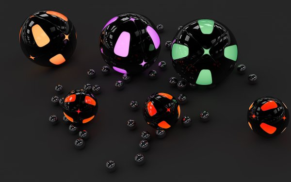 Abstract Ball 3D CGI Black HD Wallpaper | Background Image