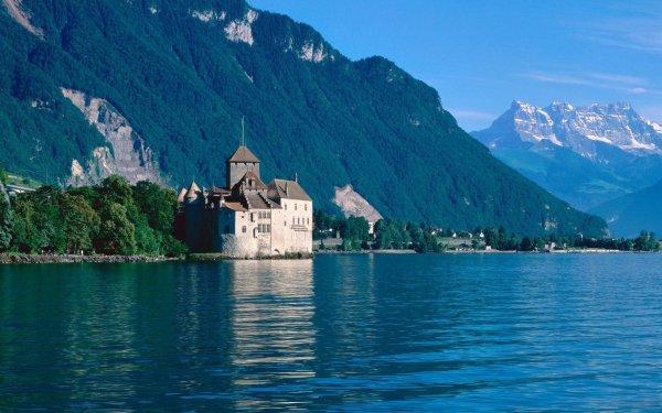 Man Made Château De Chillon Castles Switzerland Castle Mountain Lake Veytaux HD Wallpaper | Background Image