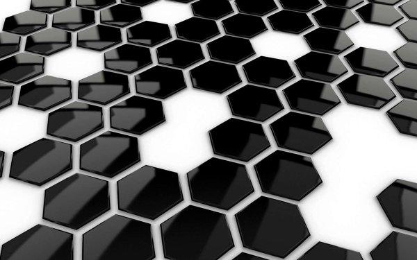 Artistic 3D Art 3D CGI Hexagon Black White HD Wallpaper | Background Image