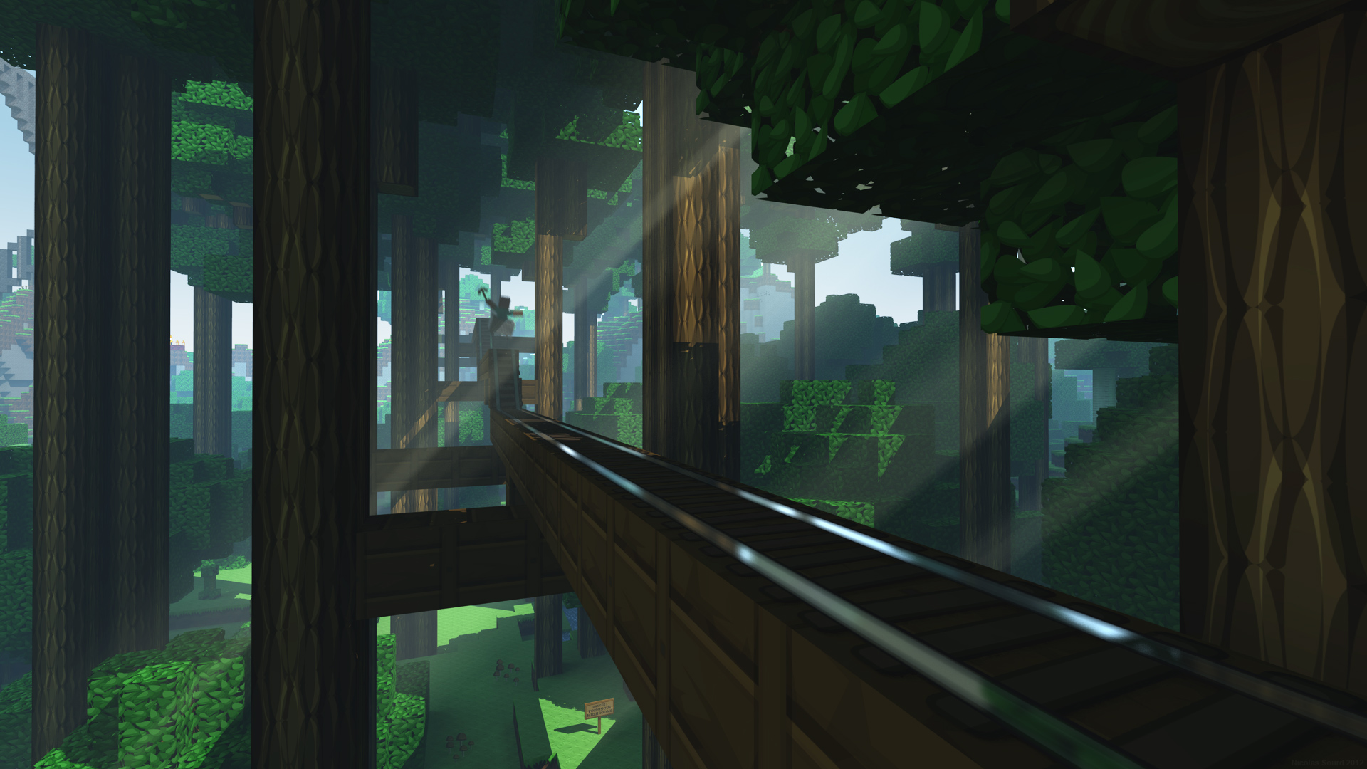 video game minecraft forest wallpaper
