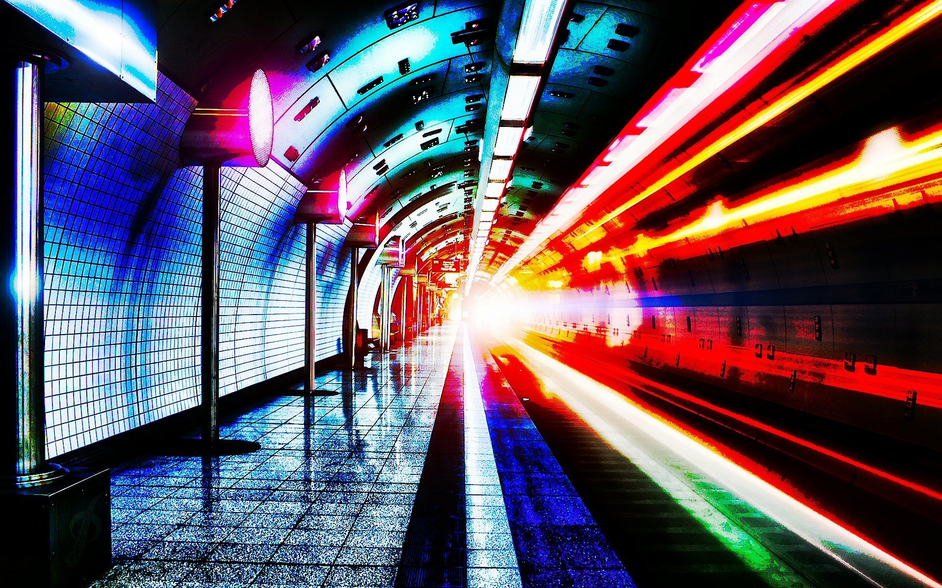 Man Made - Subway  Tunnel Metro Red Photography Wallpaper