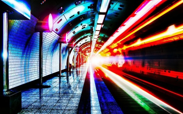 Man Made Subway Tunnel Red HD Wallpaper | Background Image