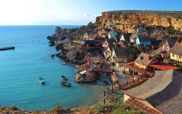 Man Made Popeye Village Towns Malta Scenic HD Wallpaper   Background Image