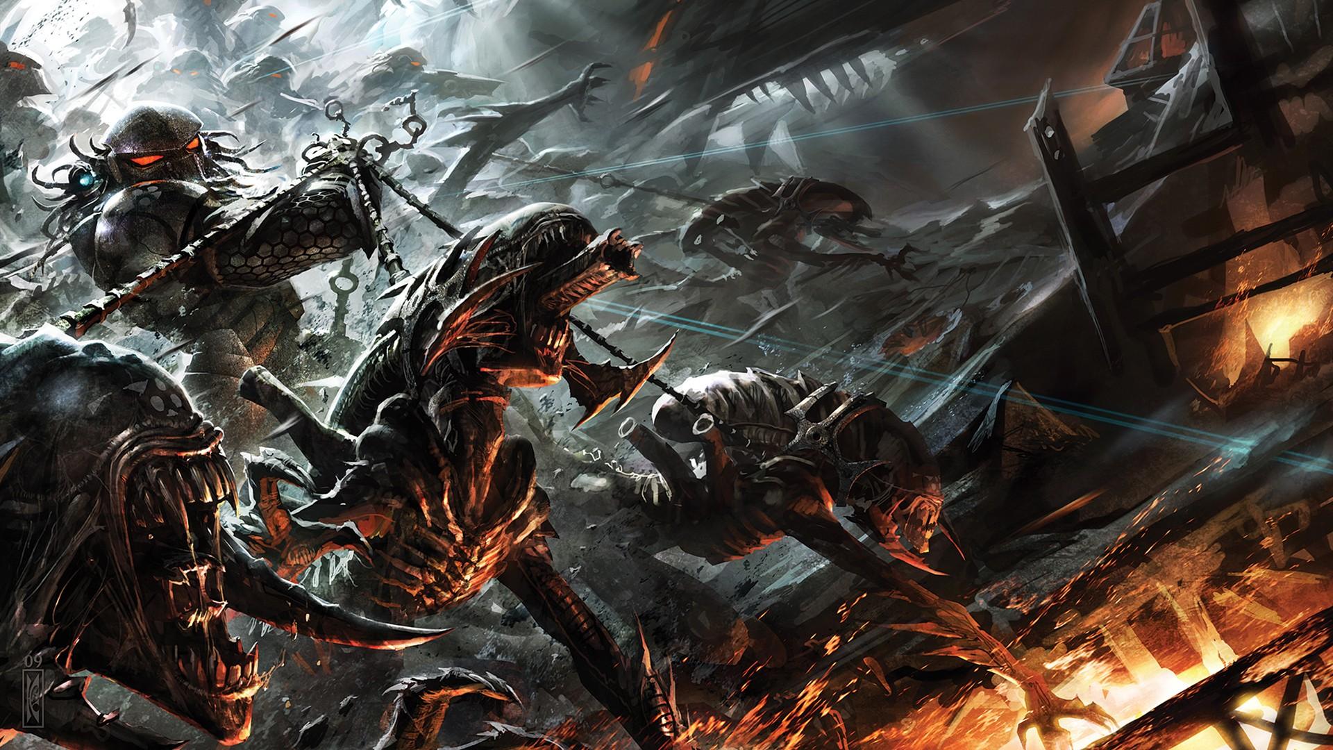 Aliens Vs Predator Three World War Full HD Wallpaper And