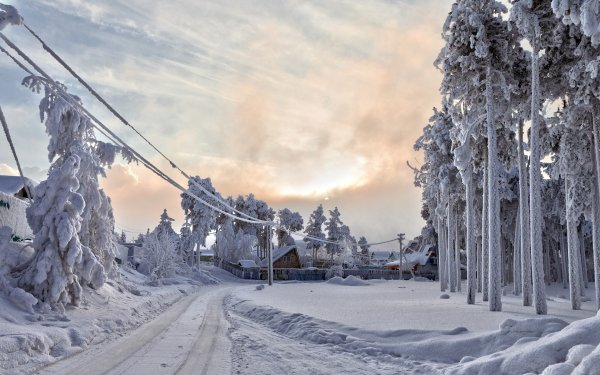 Photography Winter Earth Snow Road Power Line House HD Wallpaper | Background Image