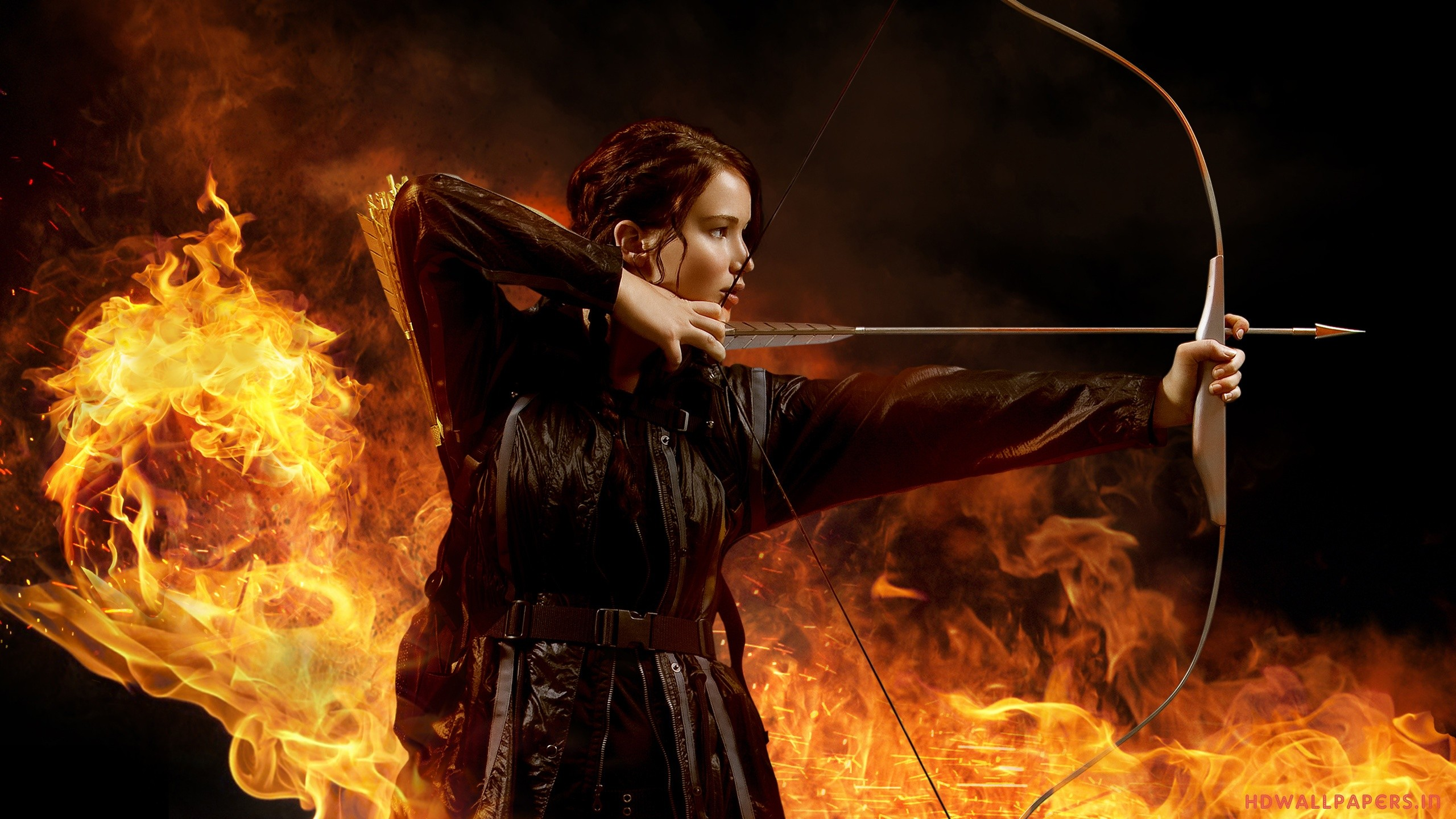 The hunger games full hd wallpaper and background image movie the hunger games katniss everdeen jennifer lawrence fire arrow bow wallpaper voltagebd Choice Image