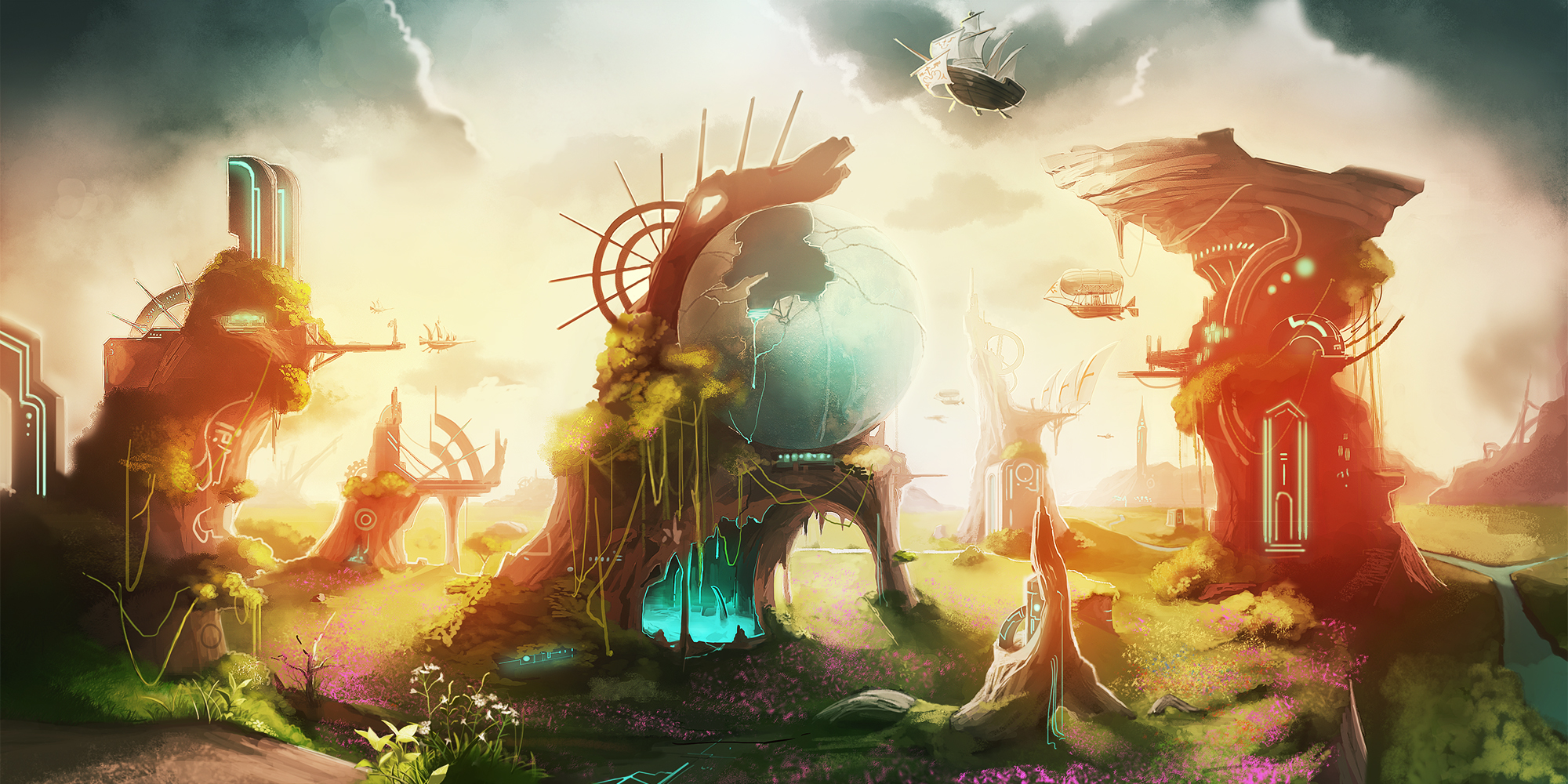 Pixiv fantasia wallpaper and background image 2000x1000 - Anime scenery wallpaper laptop ...