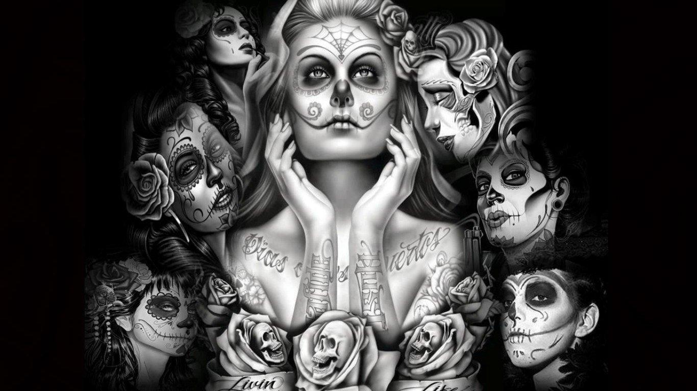 Sugar skull girls wallpaper and background image 1366x768 id 398198 - Sugar skull background ...