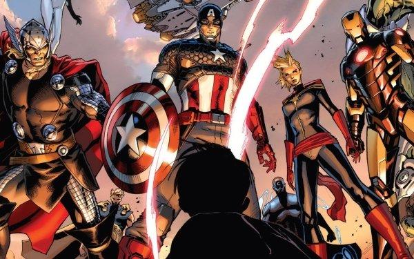 Comics Los Vengadores Superhero Thor Capitan América Iron Man Capitana Marvel Fondo de pantalla HD | Fondo de Escritorio