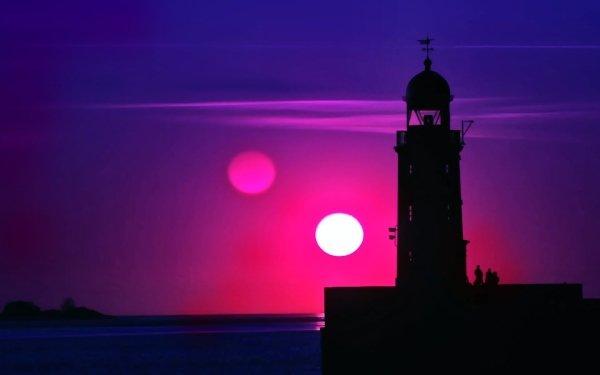 Photography Sunset Horizon Magenta Blue Sky Lighthouse Sun Sea HD Wallpaper | Background Image