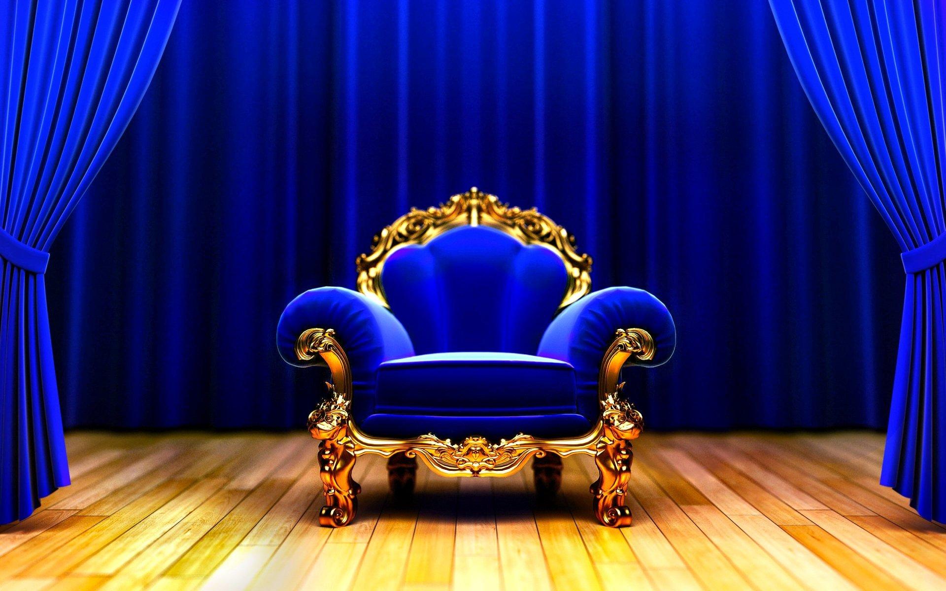 Man Made - Furniture  Blinds Armchair Blue Chair Wallpaper