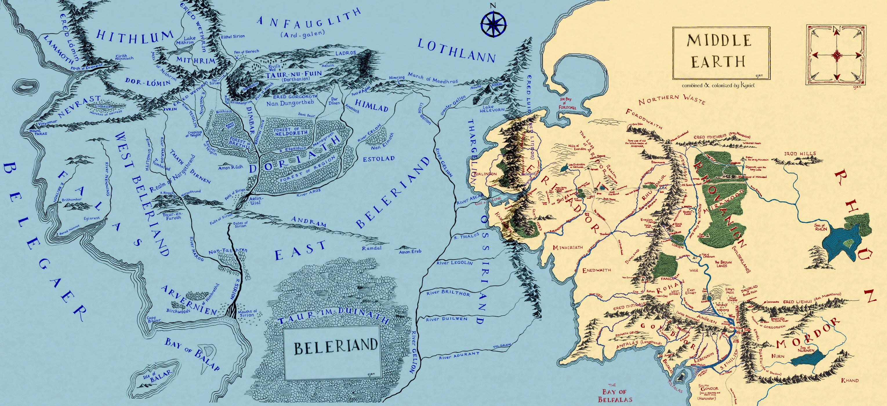 Map Of Beleriand map of Beleriand and Middle earth : lotr Map Of Beleriand