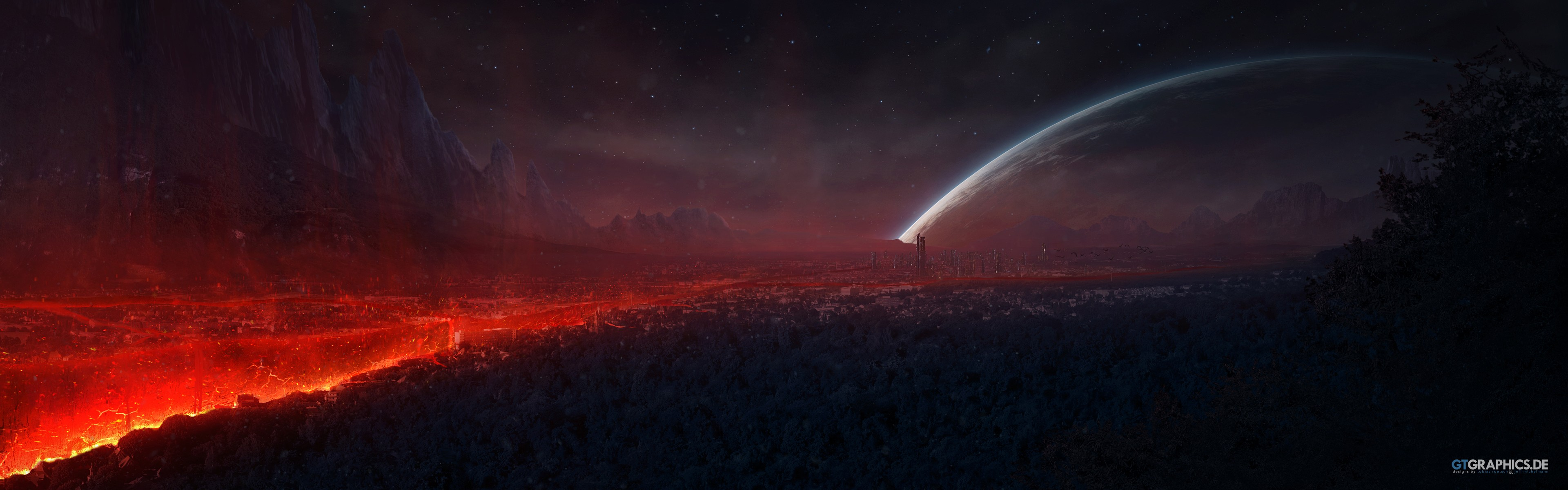 Planet rise hd wallpaper background image 3840x1200 - Space wallpaper 3840x1200 ...