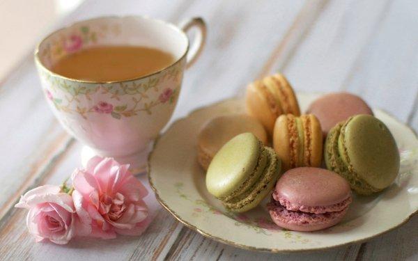 Обои Напитки Чай Печенье Сладости Тарелка Макарон Еда Фото 3…