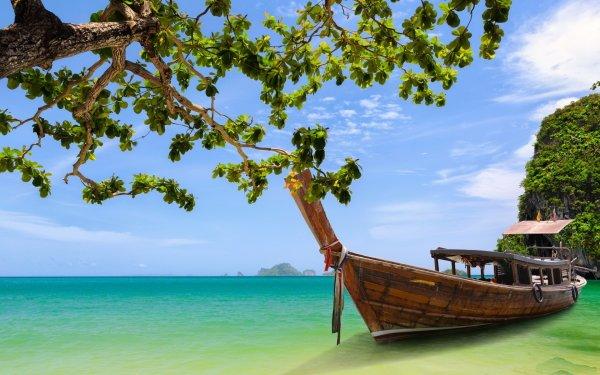Vehicles Boat Thailand Krabi Phang Nga Bay Tree HD Wallpaper | Background Image