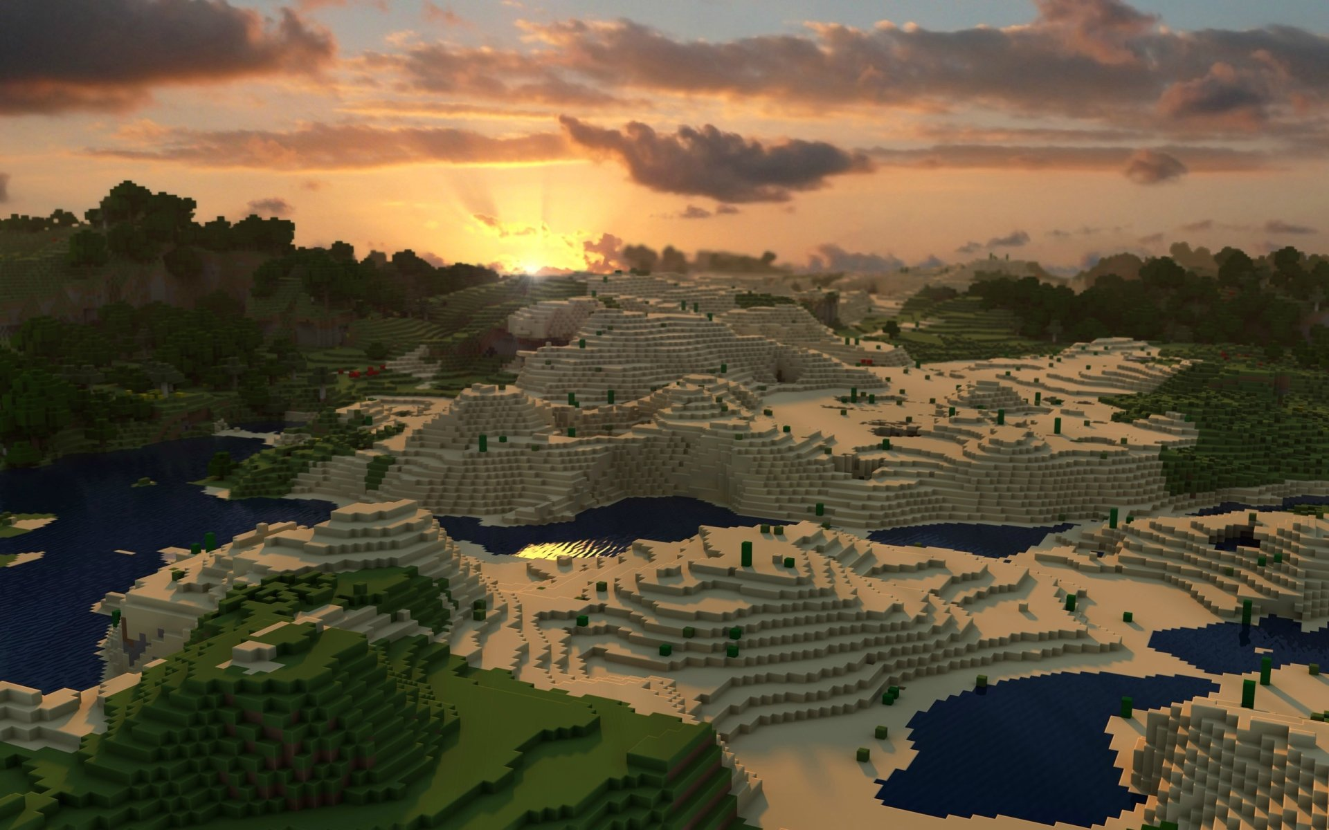Video Game - Minecraft  Mojang Video Game Forest Sand Sunset Cloud Wallpaper