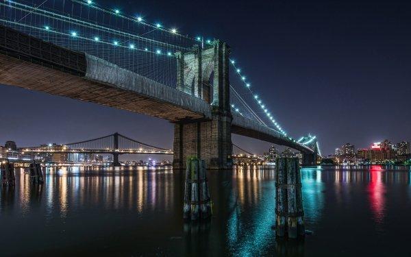 Man Made Brooklyn Bridge Bridges New York HD Wallpaper | Background Image