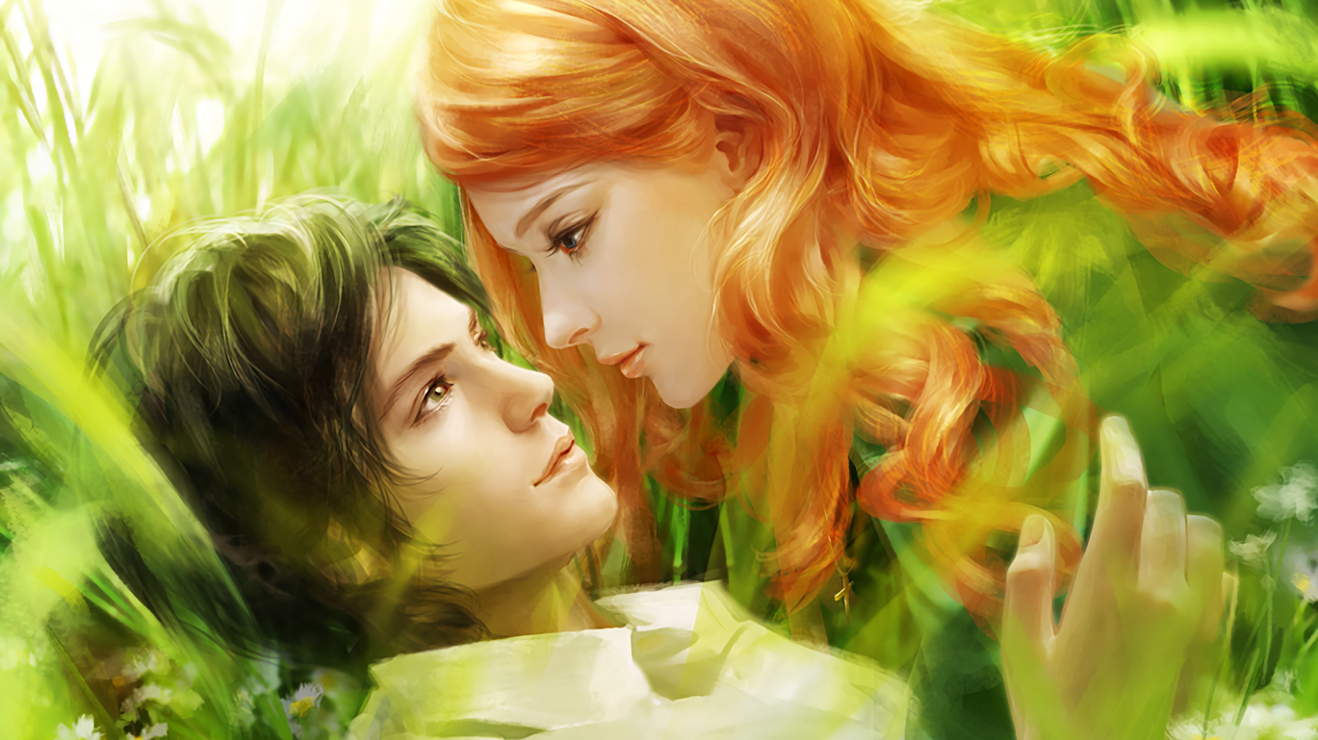 Artistic - Love  Fantasy Romantic Artistic Girl Blue Eyes Boy Green Eyes Redhead Wallpaper