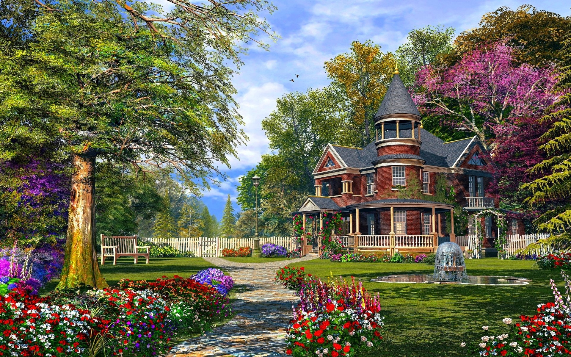 The summer house wallpaper and background image 1366x768 for Wallpaper with houses on it