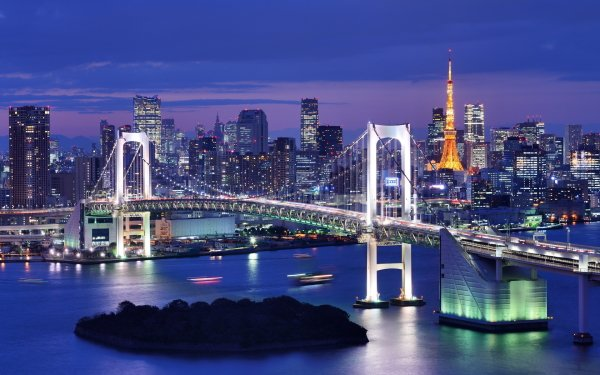 Man Made Rainbow Bridge Bridges Tokyo Tokyo Tower HD Wallpaper | Background Image