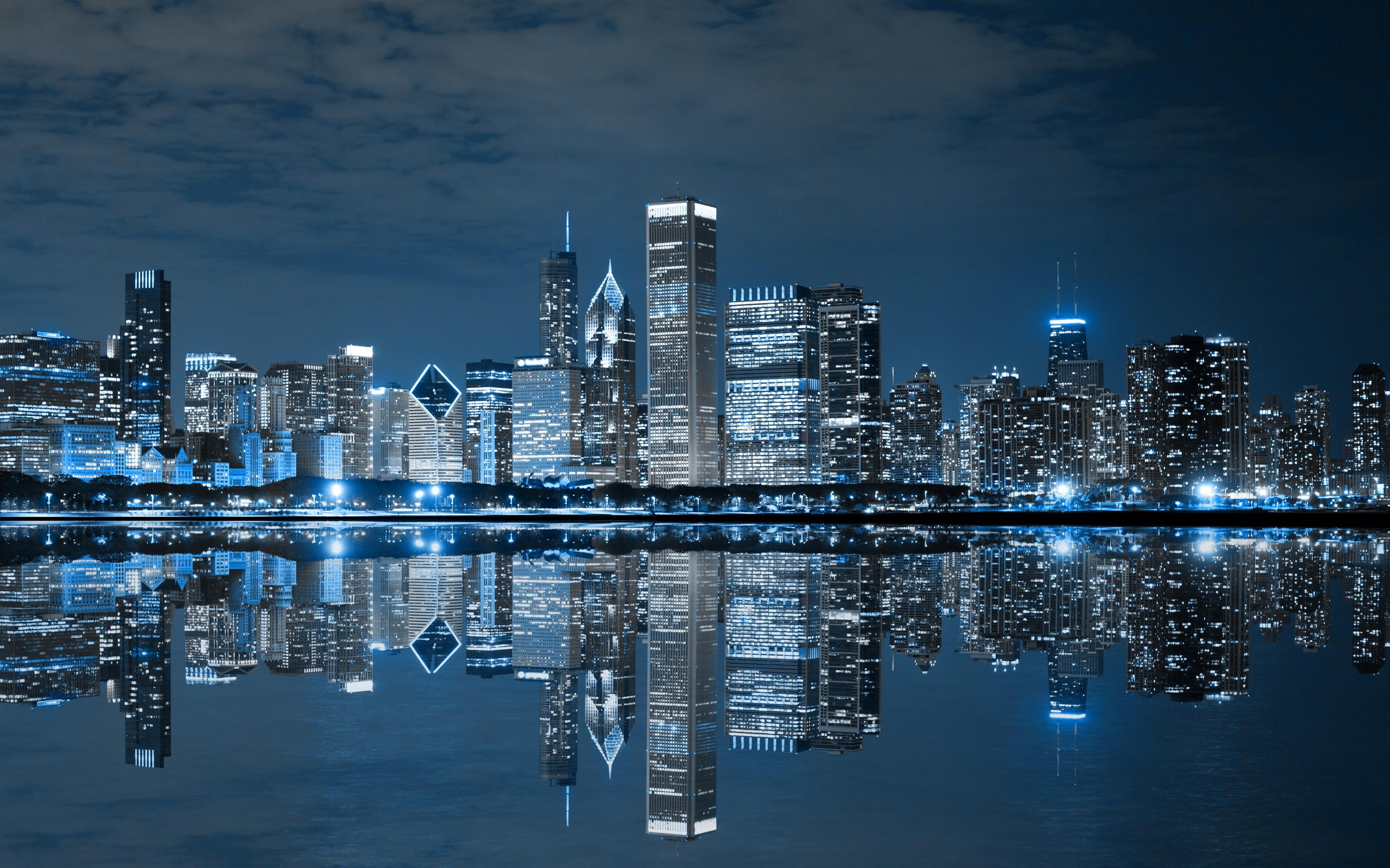 Ночной порт в Чикаго  № 3504450 бесплатно