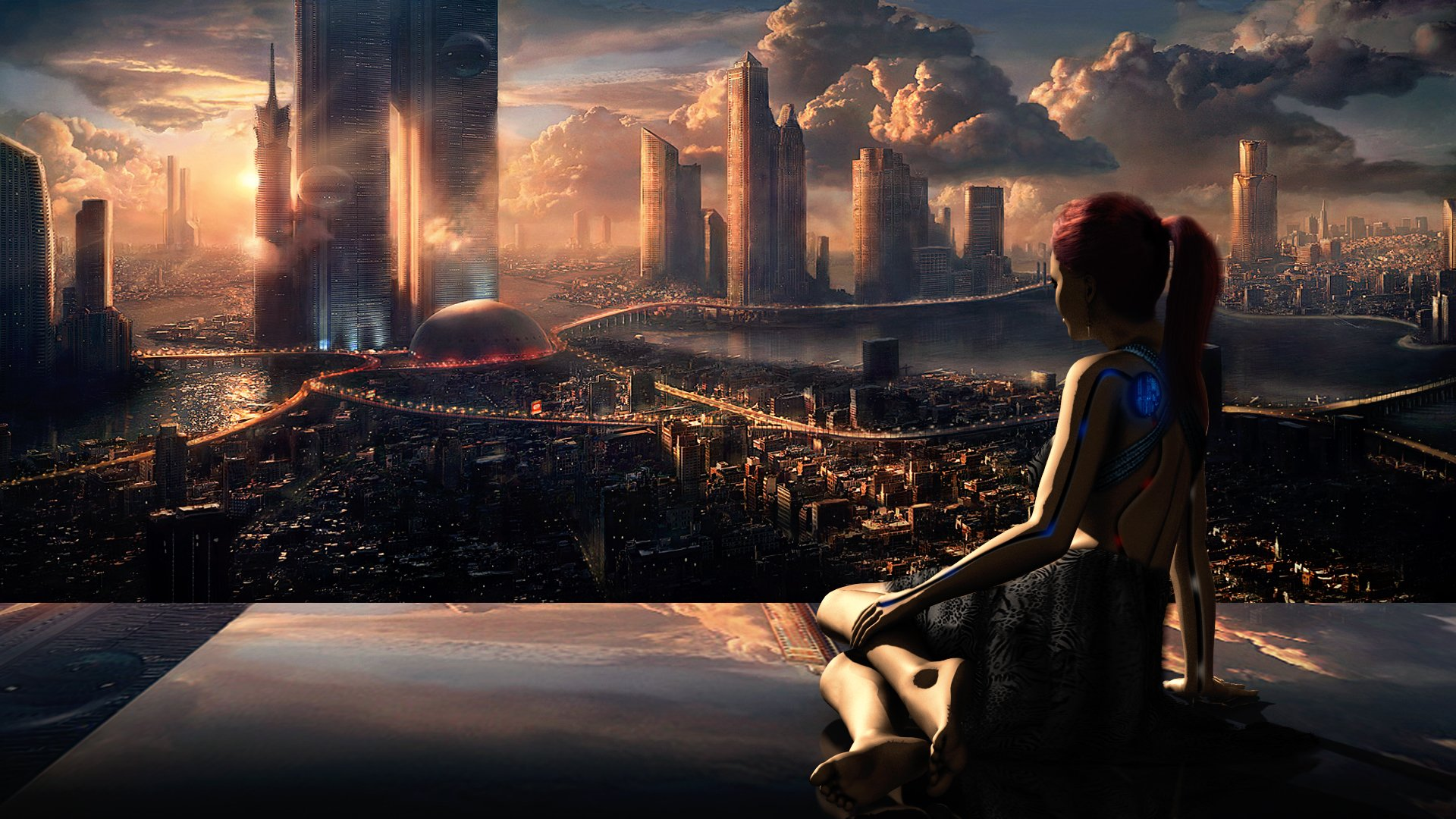 Science-Fiction - Großstadt  Sonnenuntergang Spiegelung Roboter Science-Fiction Futuristic City Wallpaper