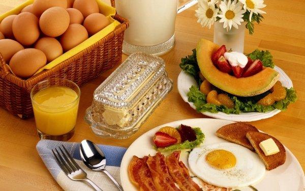 Alimento Desayuno Huevo Fruta Milk Basket Jugo Toast Butter Fondo de pantalla HD | Fondo de Escritorio