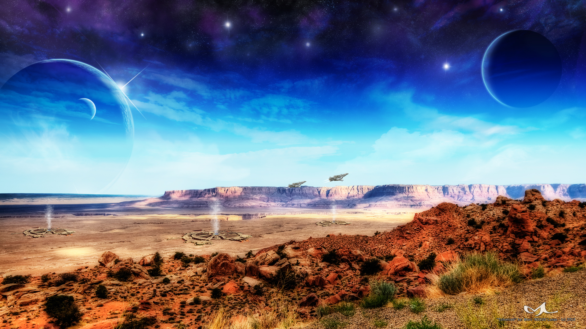 Colonized full hd wallpaper and background image for Space landscape