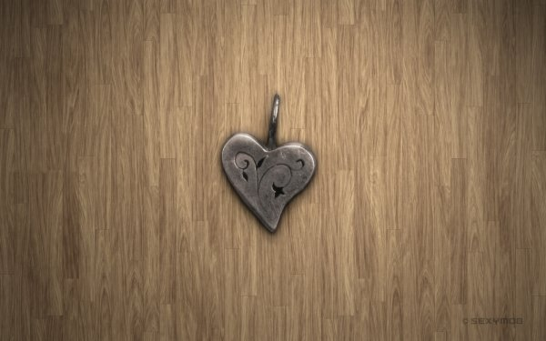 Artistic Heart Pendent Silver Romantic Love Simple HD Wallpaper | Background Image
