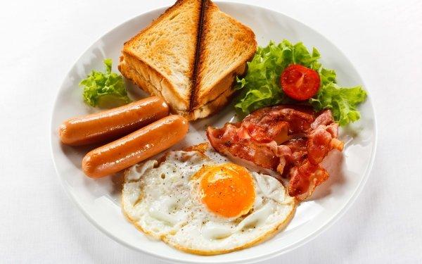 Alimento Desayuno Bacon Toast Sausage Huevo Fondo de pantalla HD | Fondo de Escritorio