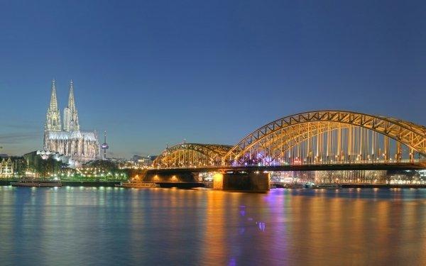 Man Made Hohenzollern Bridge Bridges Night Cologne HD Wallpaper   Background Image