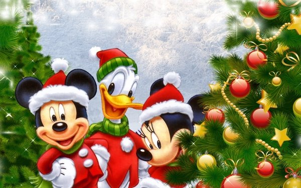 Holiday Christmas Christmas Tree Christmas Ornaments Mickey Mouse Minnie Mouse Donald Duck HD Wallpaper | Background Image