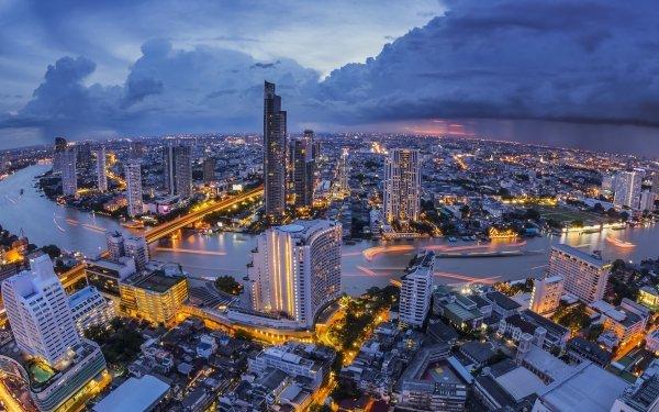 Man Made Bangkok Cities Thailand Night River Light HD Wallpaper | Background Image