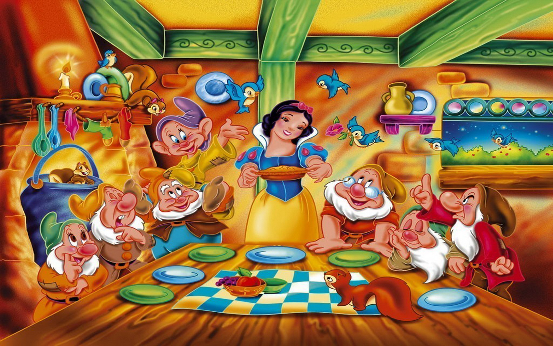 snow white and the seven dwarfs hd wallpaper background image