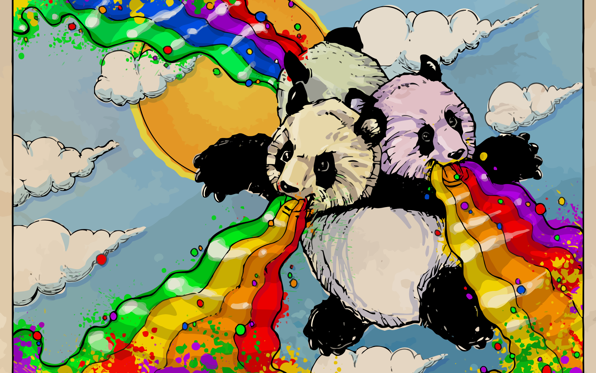 Rainbow Panda Full HD Wallpaper and Background Image ...