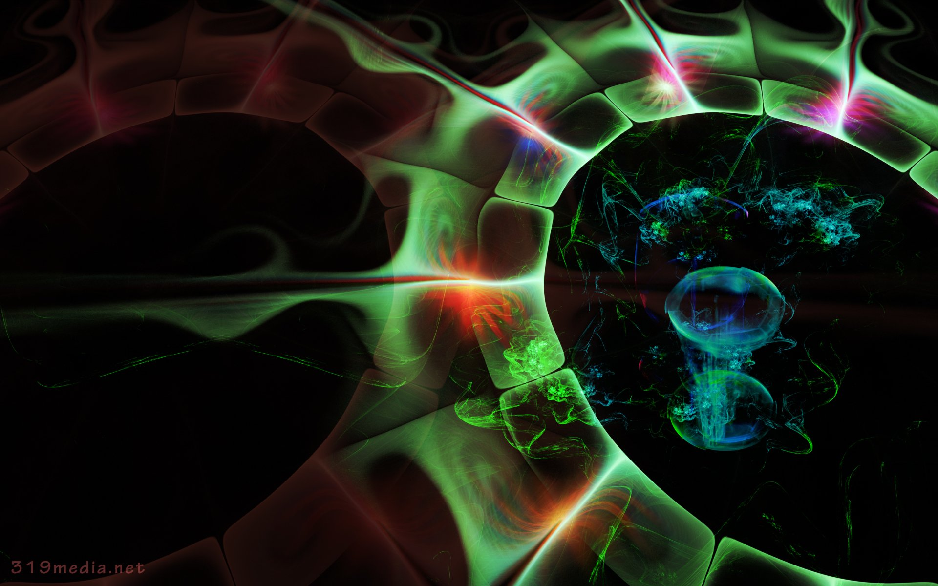 Abstract - Fractal  Green Abstract Glow Wallpaper