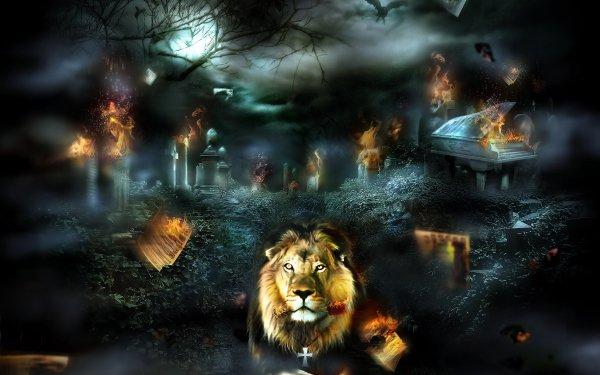 Fantasy Lion Fantasy Animals Cemetery Fire Night HD Wallpaper | Background Image