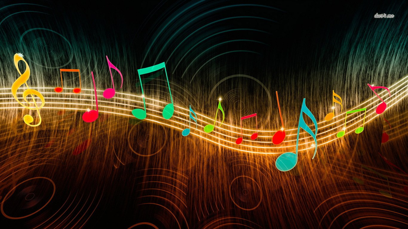 musical notes wallpaper and background 1366x768 id 480927